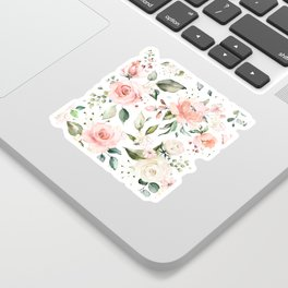 Sunny Floral Pastel Pink Watercolor Flower Pattern Sticker