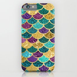Glitter Blues, Purples, Greens, and Gold Mermaid Scales iPhone Case