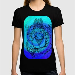 Lord Ganesha on Blue Spiral T-shirt