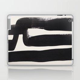 Mid Century Modern Minimalist Abstract Art Brush Strokes Black & White Ink Art Ancient Stripes Laptop & iPad Skin