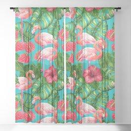 Flamingo birds and tropical garden          watercolor Sheer Curtain