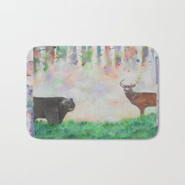 The relationship between a bear and a deer Bath Mat