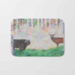 The relationship between a bear and a deer Bath Mat