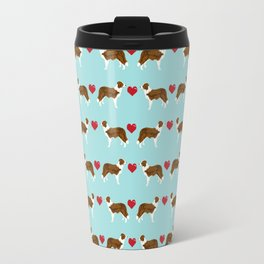 Border Collie red coat love hearts dog breed gifts collie dog patterns Travel Mug
