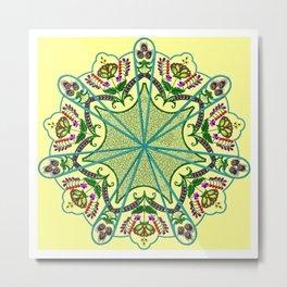 Mandala in florals Metal Print