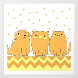 Cute Animals Art, Pet Animals Design Art with Dog, Pig and Cat Art Print