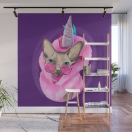 Magical Caticorn - Fuzzy Sphynx Cat Wearing a Pink Unicorn Hoodie Wall Mural
