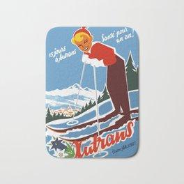 Vintage Autrans France Ski Travel Bath Mat