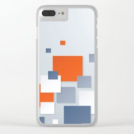 BLUE, WHITE AND ORANGE SQUARES ON A PALE BLUE BACKGROUND Abstract Art Clear iPhone Case