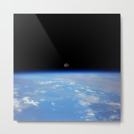 Synthwave Space #22: Moon, Earth, horizon, orbit Metal Print