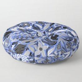 Silver Blue Floral Leaves Illustration Pattern Floor Pillow