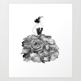 Lady Rose, black and white Art Print
