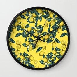 Lemon and Leaf Pattern III Wall Clock