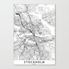 Stockholm White Map Canvas Print