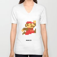 video game V-neck T-shirts featuring Lab No.4 -Mario Video Game Quotes,Poster by Lab No. 4