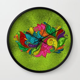 Stained Glass Bohemian Flower Swirl Lime Wall Clock