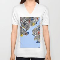 istanbul V-neck T-shirts featuring Istanbul by Mondrian Maps