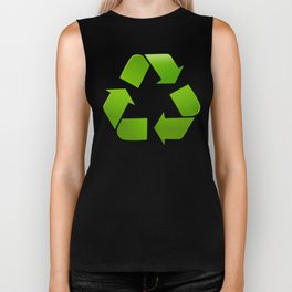 Green Recycle symbol on white background Biker Tank