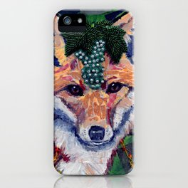 Fox Wearing Jewels Collage iPhone Case