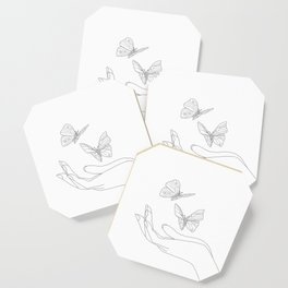 Butterflies on the Palm of the Hand Coaster