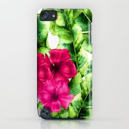green banana palm leaves and pink flowers iPhone Case