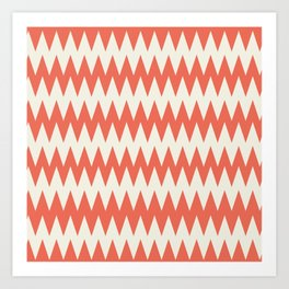 Pantone Cannoli Cream Soft Zigzag Pointed Rippled Horizontal Lines on Living Coral Art Print