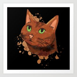 Watercolor Cat Brown Cat Watercolor Art Print