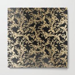 Chic vintage faux gold floral damask pattern Metal Print
