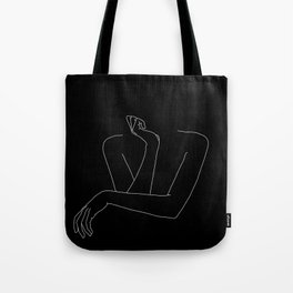 Woman's body line drawing illustration - Anna black Tote Bag