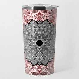 Cinnamon Pepper Warm Mandala Red White Black Travel Mug