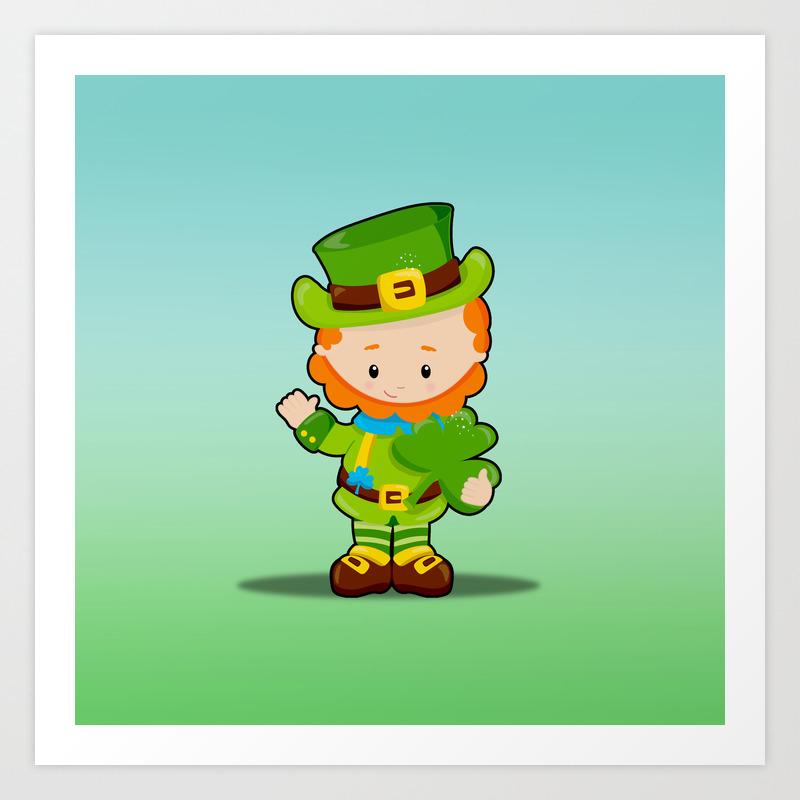 St Patrick S Day Lucky Leprechaun With Shamrock Art Print By