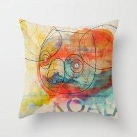 koala Throw Pillows featuring Koala by Alvaro Tapia Hidalgo