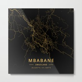 Mbabane, Swaziland - Gold Metal Print