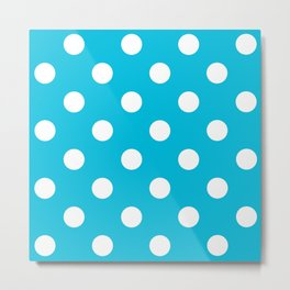 Turquoise and White Polka Dots Metal Print