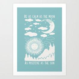 Moon Sun and Mountains Vintage Folkart Illustration / Typography Art Print