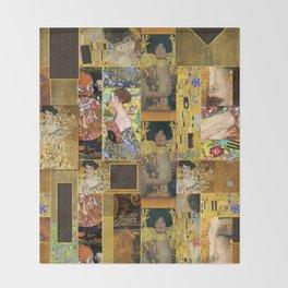 Klimt geometric collage Throw Blanket