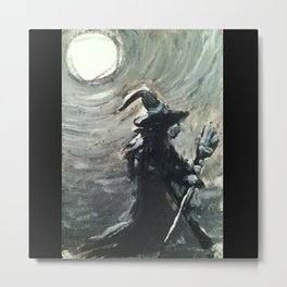 Witch under Full Moon Metal Print