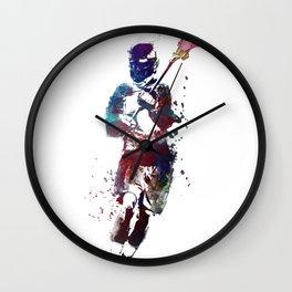Lacrosse player art 2 Wall Clock