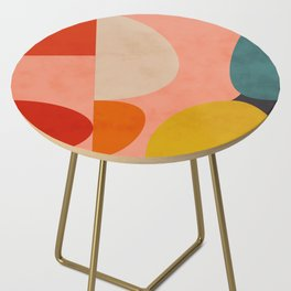 geometry shape mid century organic blush curry teal Side Table