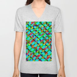 geometric pixel square pattern abstract background in green yellow blue orange Unisex V-Neck