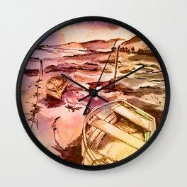 Pen and Ink Boats - soft tones Wall Clock