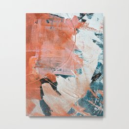 Interrupt [2]: a pretty minimal abstract acrylic piece in pink white and blue by Alyssa Hamilton Art Metal Print
