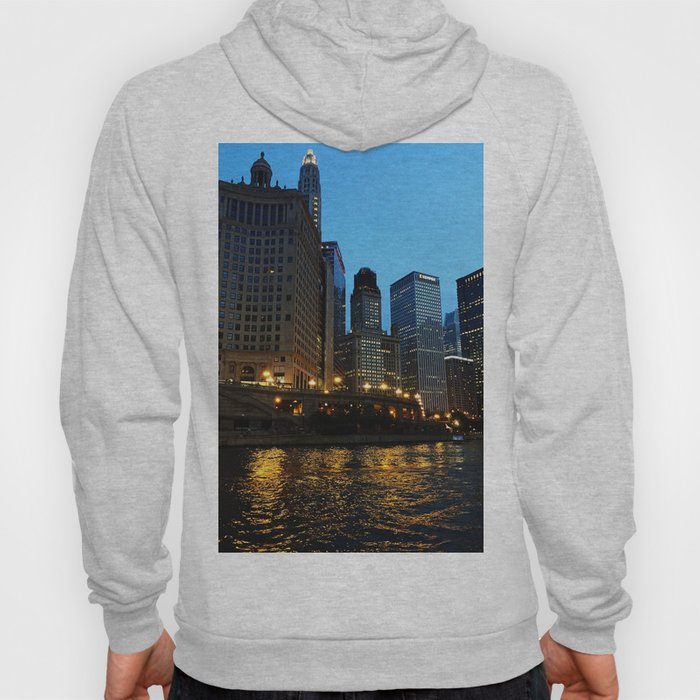 Chicago River and Buildings at Dusk Color Photo Hoody