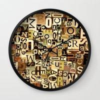 alphabet Wall Clocks featuring Alphabet by Kerri Swayze