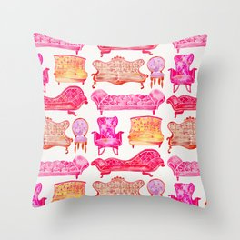 Victorian Lounge – Pink Palette Throw Pillow