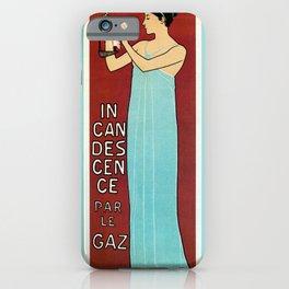 Vintage French art nouveau gas lighting lamp post banner iPhone Case