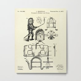 Fireman's Helmet and Dress-1877 Metal Print