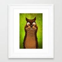 squirrel Framed Art Prints featuring Squirrel by Tatyana Adzhaliyska