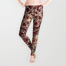 Beige Old Rose Mandala  Psychedelic Pattern Leggings