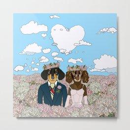 Dachshund Lovers - Honeymoon Metal Print